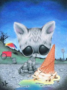 Sugar Fueled Cat Ice Cream Pity Kitty Kitten by Sugarfueledart