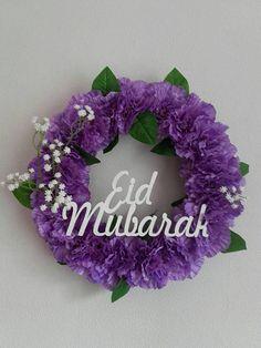 wreath with Bismillah/Alhamdulillah laser cutout wooden sign/ islamic wreath/ Eid gifts/eid decoration/islamic gifts/Eid mubarak/summer Ramadan Crafts, Ramadan Decorations, Purple Wreath, Floral Wreath, Happy Eid Mubarak, Ramadan Mubarak, Eid Mubarak Greetings, Eid Al Fitr, Islamic Gifts