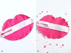 Faça deste lábios bolsa zipado para stashing coisas secretas em sua bolsa! Clique por para padrão + instruções.