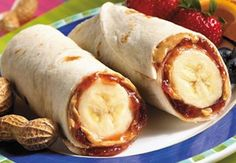 Banana, PB all rolled up. There is so much flavor here that you can use a multi-grain tortilla and the kids will still eat it.  I like these with a little drizzle of honey and sunflower seeds. the-lunch-box-for-littles-bigs