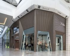 Fashion chain Zara's flagship store in west London's Westfield shopping centre has a façade made from panels of HI-MACS material.