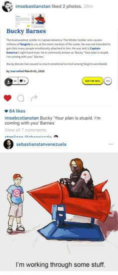 Seb is on a Bucky Barnes fangirling spree... Seb is one of us now...