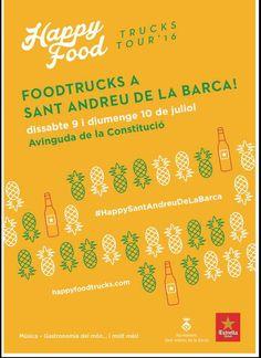 Aquest dissabte dia 9 i diumenge dia 10 de Juliol ens podreu trobar a l'esdeveniment de HAPPY FOOD TRUCKS què és realitzarà a Sant Andreu de la Barca (provincia de Barcelona) a l'Avinguda Constitució.  La filosofía foodtrucks ésuna festa…