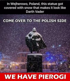 But after a recent snowfall, people noticed the statue transforms into one of film's most infamous villains — Darth Vader. Polish Memes, Awesome Wow, The Force Is Strong, Dalek, Star Wars Humor, Geek Girls, Life Memes, Funny Posts, Funny Memes
