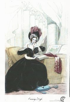 February evening dress, 1836 England, Court Magazine    Of black velvet; the corsage drapé, with short full sleeves. The hat of black velvet with rose-colour feathers and blonde lappets, arranged as a cap with flowers round the face. Zephyr scarf of rose-colour. Earrings and chain of gold, set with carbuncles.