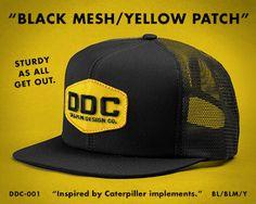 DDC-001 BL/BLM/Y Draplin Design, Black Mesh, Snapback, Patches, Action, Cap, Flooring, My Style, Yellow