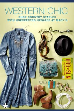 Loving the western chic trend like us? Visit macys.com for everything from ankle-grazing chambray dresses to flower embroidered ankle boots and turquoise, embossed handbags to get in touch with your inner urban cowgirl.