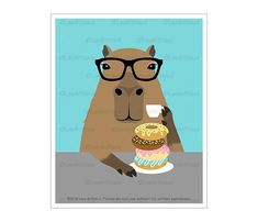 ACEO archival PRINT dog animal art Coffee Smells Good pets drink foodie