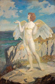 Anghus, Keltische God van de Liefde, equivalent van Cupido. Dit schilderij is geschilderd door John Duncan.