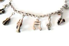 Vintage Sterling Silver Charm Bracelet with 12 Music Theme Charms Estate #SYLink