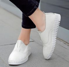 White slip on loafers sneakers