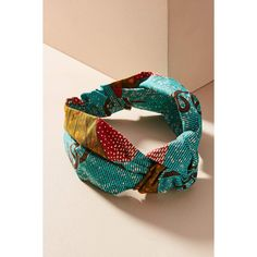 Jennifer Behr Printed Marin Knot Headband ($198) ❤ liked on Polyvore featuring accessories, hair accessories, turquoise, knotted headwrap, boho headbands, leather hair accessories, boho hair accessories and bohemian hair accessories