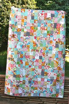 """Couldn't hit the """"Pin it"""" button fast enough on this one!  Crazy 9-patch quilt by One Shabby Chick.  I want to drink this quilt!"""
