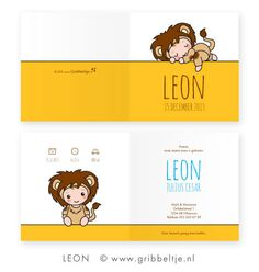 Geboortekaartje met leeuw - birth announcement with lion * Made by Gribbeltje *