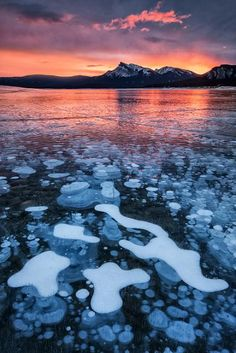 photo by Darwin Wiggett | Methane bubbles trapped in frozen Alberta's Abraham Lake, Canada