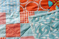 orange and aqua quilt - LOVE