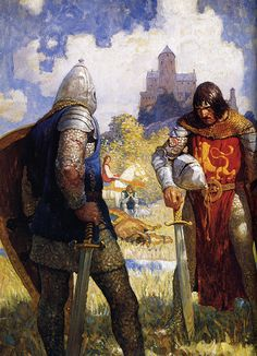 N.C. Wyeth- again- the landscape is near abstraction. Love the intense gaze of the two men and the tension implied in their poses