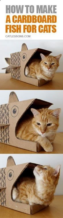 Heres some cool cat stuff for you, a DIY cat cave or bed in the shape of a fish made from a cardboard box!