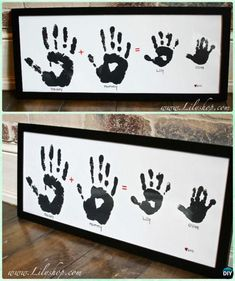 DIY Family Baby Handprint Art Instruction - DIY Handprint Craft Gift DIY Handprint Craft Gift Ideas: Handprint gifts for kids and family to make, special hand-print holiday decoration, Christmas tree, Wall Art. Diy Gifts For Kids, Diy Crafts For Gifts, Gifts For Family, Kids Diy, Decor Crafts, Baby Handprint Crafts, Baby Crafts, Diy Love, Keepsake Crafts