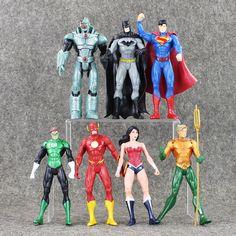 7ピース/ロットdcコミックのスーパーヒーロー正義リーグスーパーマンバットマンワンダーウーマンをフラッシュグリーンランタンアクアマンcyborg pvcフィギュアおもちゃ