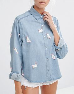 Lazy Oaf Denim Shirt With Pom Pom Bunnies