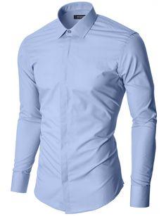 74a343a99f8 Herren Hemd Slim Fit Business Langarmhemd Himmelblau (MOD1447LS)