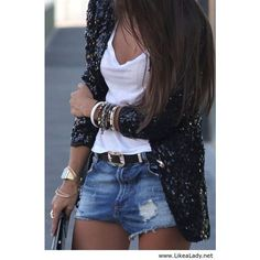Blue Ripped Denim Shorts ❤ liked on Polyvore