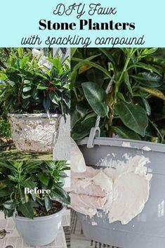 DIY faux stone planters Stone Planters, Hanging Planters Outdoor, Outdoor Living Patios, Plastic Plant Pots, Outdoor Projects, Diy Projects, Stone Texture, Faux Stone, Diy Patio