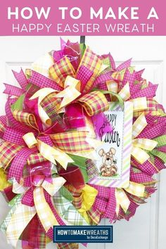 It may still be cold where y'all are, but it is time to get started on your spring products. Today, I'm showing you how to make an adorable Happy Easter wreath with bright deco mesh and ribbons that are perfect for spring! Make Your Own Wreath, How To Make Wreaths, Easter Wreaths, Christmas Wreaths, Christmas Gifts, Mesh Wreath Tutorial, Diy Wreath, Deco Mesh Wreaths, 4th Of July Wreath
