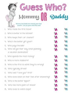 Guess Who? Mommy or Daddy Great Baby Shower game