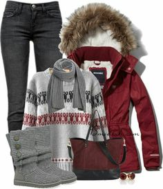 Burgundgy anorak jacket with  fur trimmed hood, grey & burgundy patterned  sweater, black skinny jeans, grey Ugg boots, switch to black crossbody bag