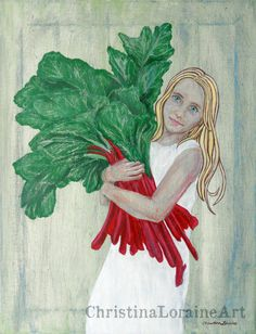 """Rhubarb Season. original painting on stretched canvas. Free shipping From Etsy Seller: Christina Loraine Art (LBJ: Looks like """"A"""" gathering up Jhb's Kale for that day)"""