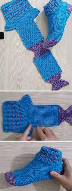 Slippers Tutorial (Crochet/Knit) - Design PeakFolded Slippers Tutorial (Crochet/Knit) - Design Peak New crochet socks lace projects Ideas Two Needle Socks – Free Knitting Pattern – stricken – Knitting Designs, Knitting Patterns, Crochet Patterns, Blanket Patterns, Easy Patterns, Knitting Ideas, Crochet Designs, Knitted Slippers, Crochet Slippers