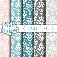 """With Love By MyRpaper #patterns #design #graphic #paperdesign #papercraft #scrapbooking #digitalpapers Damask Digital Paper: """"Dessert Tones"""" Digital Paper Pack and Backgrounds in Pink, Blue, Grey and Light Blue - OFF SALE - Oasi  HELLO AND WELCOME TO MY SHOP  INSTANT DOWNLOA..."""