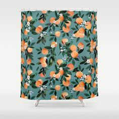 Dear Clementine - oranges teal by Crystal Walen Duschvorhang Teal Shower Curtains, Bathroom Shower Curtains, New Bathroom Ideas, Boho Bathroom, Master Bathroom, Orange Bathrooms, Pink Vanity, Modern Bathtub
