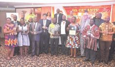 Rev. Dr Joyce Aryee (arrowed) with some recipients of the Cedants' awards after the ceremony in Accra.