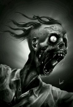 """""""Zombie"""" by Matt Hubel Zombie Life, Zombie Art, Scary Art, Creepy, Aliens, Scary Dreams, Zombie Monster, Digital Art Gallery, 2d Art"""