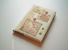 RESERVED Notebook, Sketchbook, Journal, Diary Cover, A5, Vintage Linen and Lace