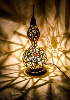 Unique wedding, Eid GIFT Gourd lamp creativity Ottoman craft Turkish lamp shadow table lamp stehlamp Source by Turkish Furniture, Bohemian Furniture, Turkish Lamps, Moroccan Lamp, Turkish Decor, Bohemian Lamp, Boho, Wood Burning Techniques, White Light Bulbs