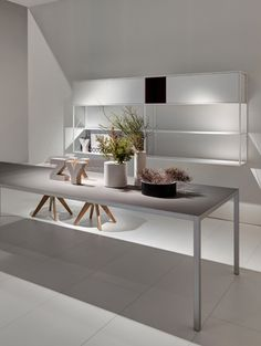 Lim a makeover of the LIM iconic family, renews and turns into a light and thin table, with a more up-to date and modern identity. The structure contained Interior Architecture, Interior Design, Dining Room Table, Contemporary, Modern, Shelving, Furniture Design, Sweet Home, Flooring
