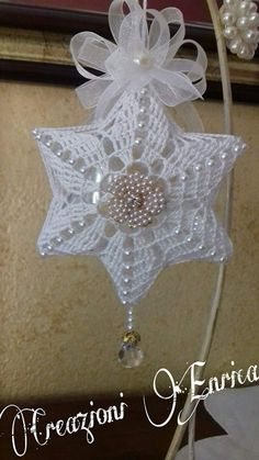 Best 12 Crochet Christmas Tree Topper and Snowflakes Crochet Snowflake Pattern, Crochet Flower Tutorial, Crochet Snowflakes, Crochet Doilies, Crochet Flowers, Crochet Patterns, Crochet Ornaments, Crochet Christmas Ornaments, Handmade Ornaments