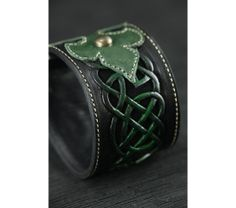 Leather Cuff, Leather Band: Celtic Clover Cuff