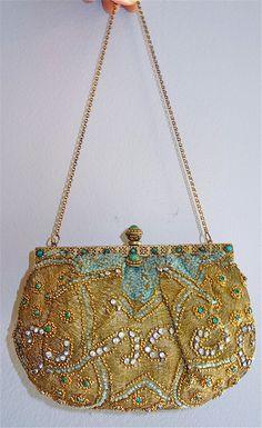 1900 French beaded, gold thread, and jeweled handbag. Vintage rhinestones jade frame, via Etsy.