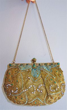 Antique French beaded gold thread jeweled amazing 1900 vintage rhinestones jade frame paris vintage. $379.99, via Etsy.