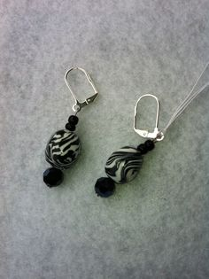 Zebra Earrings. SOLD