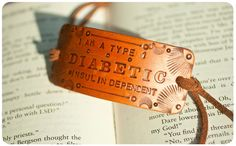 Type 1 Diabetic medical alert bracelet - Insulin Dependent - Unisex - Hand stamped, tooled and stained leather bracelet. $15.00, via Etsy.