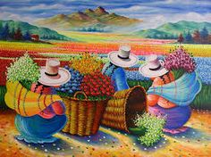 Resultado de imagen para como pintar cuadros con imagenes peruanas Arte Latina, Peruvian Art, Peruvian Women, Art Africain, Naive Art, Mexican Art, Art Pictures, Folk Art, Modern Art