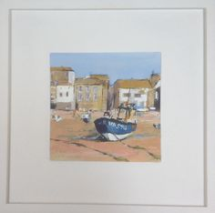 SOLD - St Ives II - palette knife painting - acrylic on board. Size framed 39cm x39cm