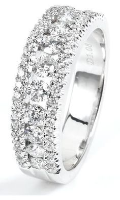 1.03 ctw 18k White Gold Round Brilliant Diamond Wedding Band