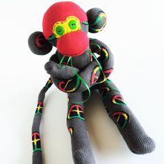 Sock Monkey-Rasta Peace-Handmade-Monkey-Peace-Grey,Red,Yellow, Green, Jamaica, Doll, Plushie, Novelty by MissysMonkeys on Etsy